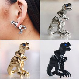 Wholesale Dragon Wrap Ear Cuff - 2015 Super Deal Gothic Punk Antique Crystal Bronze Tone Metal Dragon Ear Cuff Wrap Stud Earrings Free&Drop Shipping