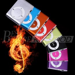 Wholesale Mini Clip Mp3 Player 16gb - Mini Clip Mp3 Player No screen Metal Style Support Micro SD Card 1-16GB with Earphone USB Cables Colorful with Crystal Boxes