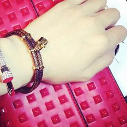 Wholesale Adjustable Love Bracelet - magnet bangle adjustable bangle 316 stainless titanium steel bracelet bangle adjustable love with key leather bangle for women