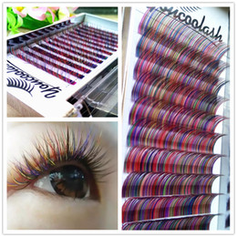 Wholesale Hand Made Labels - 2017 YoucooLash 12lines tray colorful individual lashes rainbow color eyelash Faux mink individual Colorful eyelash extensions private label