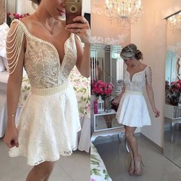 Wholesale Vneck Sleeveless Line Dress - Beading Peals Charming Homecoming Dresses Vneck Sleeveless Applique Mini Short Lace Cocktail Gowns Prom FOrmal wear Customed Hot Sale WWL