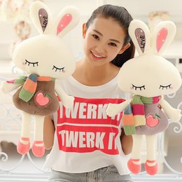 Wholesale Love Rabbit Pillow - Wholesale-Children's Day gift lOVE squinting beauty cute shy rabbit plush toy doll pillow