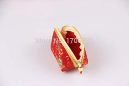 Wholesale Cheap Small Purses Wholesale - Cheap Vintage flower coin purse silk key holder wallet small gifts bag clutch zippered wallet China style bag