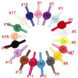 Wholesale shabby chic flowers for babies - Baby girl headband 18 colors Shabby Chic Flower Elastic Headbands for Girls Infant Flower Headband Boutique Hair Bows 50pcs lot K5510