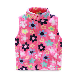 Wholesale girls printed waistcoat - Wholesale-2016 winter new fashion baby girls new styles print vest coats fashion fleece waistcoats keep warm stand-collar coats 10360