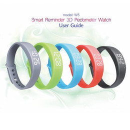 Wholesale Silicone Wristband Usb Bracelet - New 3D W5 Smart Bracelet Sport Pedometer Wristbands Watch Health Sleep Monitering Calory Fitness Track USB Thermometer Intelligent Silicone