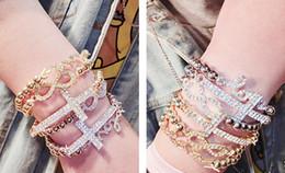 Strassbrief armbänder online-Neue Perle Elastische Dame Frauen Mädchen Mode Armbänder Blatt Nummer 8 Liebesbrief Legierung Strass Charme Armband Schmuck 6 Stile mischen