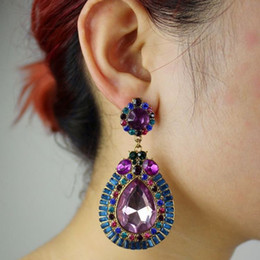 Wholesale Large Purple Rhinestones - Bohemian Statement Earring Fashion Colorful Water Drop Tassel Earrings Crystal Big Large Pendant Jewelry For Gift Wholesale 12 Pairs