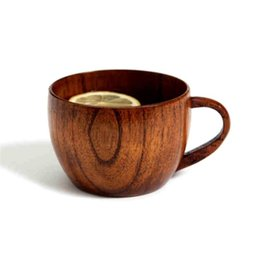 Wholesale Brown Coffee Mugs - 1Pc Wooden Mugs Eco-Friendly Supplies Natural Cup Mugs With Handgrip Coffee Tea For Travel Wine Beer Milk Mugs