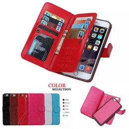 Wholesale Iphone Screen Protector Bag - Screen Protector+Magnetic Leather Detachable Case For Apple iPhone 6s Flip Cover 2 in 1 Wallet Phone Bags Case+9 Card Slots