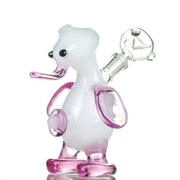 "Wholesale Penguin Types - Lovely Penguin Shape Glass Water Bongs Cute Hookahs Stand 4.7"" 10mm Joint Green White Minil Water Pipes Tobacco Oil Rigs DK01"