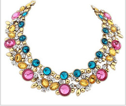 Wholesale Vintage Woman Costume - Retails 4 colors ZA Brand Choker statement Necklace Vintage Costume Chunky necklace 2014 women luxury crystal jewelry necklace NE109