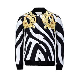 Wholesale Zebra Print Jackets - FG1509 Harajuku style new men women's 3D print jackets zebra-stripe golden flower coat baseball jacket fall winter coat