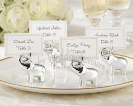 Wholesale Elephant Wedding Party Favors - Good Luck Elephant Place Card Holders Favors with matching card Wedding Favors Card Holder,party supplies, holiday decoration