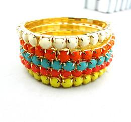 Wholesale Multi Gem Bracelet - Multi Strand Resin Stone Colorful Gem Beaded Stretch Bracelet Sets 5pcs set