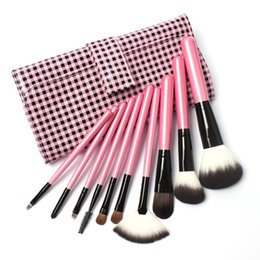Wholesale Goat Pony Hair Makeup Brushes - 10 PCs Makeup Goat Hair Make up Brush Pony Hair Brushes Kit Ultra Soft Synthetic Hair Brush in Pink Lattice Leather bag