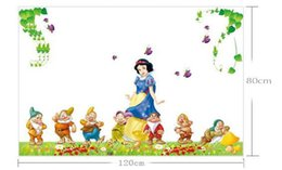 Wholesale Large Snow White Wall Sticker - Wholesale New!!! Large DIY Snow White and the Dwarfs 120x60cm Cartoon Decal Girls Room Decor wall decals for nursery 5PCS LOT