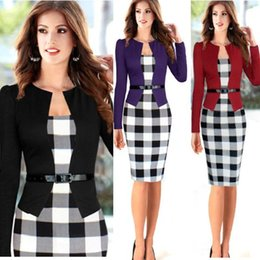 Wholesale Long Sleeve Tunics Wholesale - High Quality Women Fashion New Belted Tartan Long Sleeve Patchwork Dress Tunic Business Casual Party Bodycon Pencil Sheath Dress