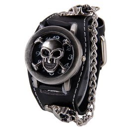 Wholesale Acrylic Watch Cover - Watches Men's Casual Watches 2015 Antique Cover Design Leather Analog Quartz Skeleton Cool Punk Skull Watch for Men Fashion Male Clock Cavei