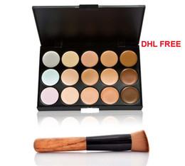 2015 el más nuevo Cosmetic Salon / Party 15 colores paleta de camuflaje crema facial maquillaje corrector paleta maquillaje conjunto herramientas con cepillo de DHL GRATIS desde fabricantes
