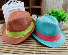 Wholesale new fedora - 2015 new styles children fedora hat kids sunhats summer girls boys hat kids caps