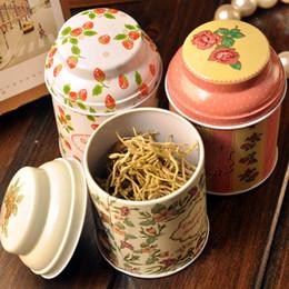Wholesale Food Container Organizer - free shipping Vintage style flower series tea box tin box storage case organizer Iron case storage container