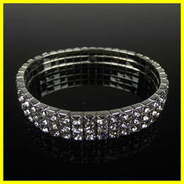 silver rounded bangle bracelet Promo Codes - Free Ship Cheap 3 Row Stretch Bangle Silver Rhinestones Cute Prom Homecoming Wedding Party Evening Jewelry Bracelet Bridal Accessories 15006