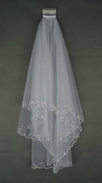 Wholesale Stock Layers White Veil - 2016 Wedding Veils Wedding Bridal Veil 2-Layer Handmade Beaded Crescent edge Bridal Accessories Veil White and Ivory color in stock