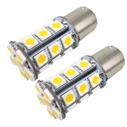 Wholesale Ba15s Led Bulbs Amber - Warm White Amber Yellow 27 SMD 1156 LED Car Light 12v Bulb BA15S 1141 1003 RV Camper Trailer Auto Interior Light Lamp Bulbs