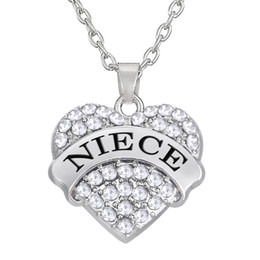 Wholesale Necklace Letter Dangle Charms - New Arrival Fashion Rhodium Color Crystal Letter NIECE Dangle Heart Necklaces Pendant Jewelry