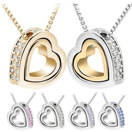 Wholesale Womens Heart Necklaces - Necklace Pendants Fashion Womens Heart Crystal Charm Pendant Chain Necklace Silver Plated Jewelry Chains Necklaces