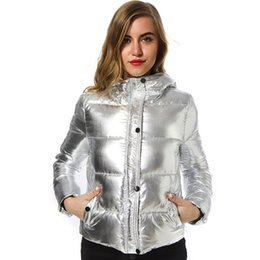 Wholesale Light Down Jacket Women S - Gold Hands Women Winter Jackets Short Warm Coat Silver Metal Color Bread Style Ladies Parka Winter Down Coats Light Weight Outerwear