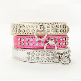 Wholesale Leather Harness Teddy - Free Shipping 2015 Lefdy New pink designer Dog collar with rhinestones white Leather and pet products for dog teddy chihuahua