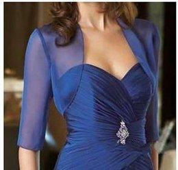 Wholesale Dress Plus Size Bolero - Royal Blue Chiffon Jackets Boleros with Sleeves Bridal Jacket Evening Plus Size Cheap Simple Bridal Coats For Mother of the Bride Dress J115