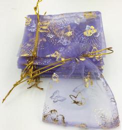 Wholesale Gauze Jewelry Bags - Organza purple butterfly gold gauze bag gift gauze bag first jewelry bag bag bag bag 100pcs lot about 10*12cm WQ25