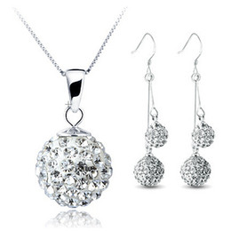Wholesale Drop Shamballa Earrings - Fashion Double Drop Shamballa Set 100% Silver 925 Sterling Silver Jewelry Sets Necklace + Earring Solid Silver