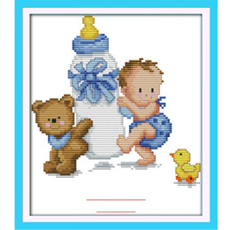 Wholesale Cross Stitch Diy Set - 26.5 * 22cm DIY Handmade Counted Cross Stitch Set Embroidery Kits Baby's Bottle Toy Pattern Cross Stitching Home Decoration H15897