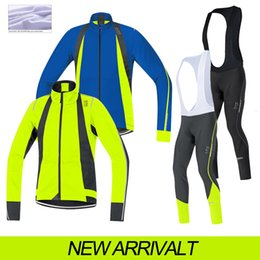 Wholesale Thermals Suits - 2015 Gores winter thermal fleece cycling jersey sport suit cycling jersey long bibs set cycling clothes China mtb mountain bike