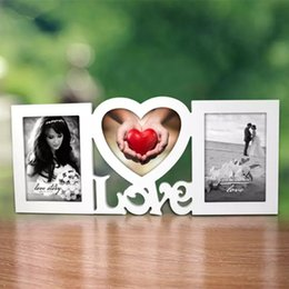 "Wholesale Frames 5x7 - Sweet Love Photo Frame Red Heart Shape With Two Picture 5x7"" Hanging For White Lover Gift And Wedding Decorative"