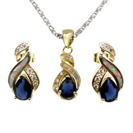 Safira azul ouro amarelo on-line-Conjuntos de Jóias de Ouro Amarelo Banhado A Opala Natural Genuine Blue Sapphire 8 Design Pingente de Colar Brinco Presentes de Natal OPJS3