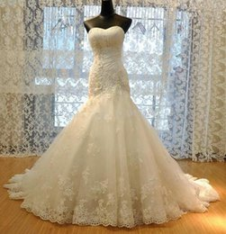 Wholesale Straight Strapless Wedding Dress - Wholesale - 2015 New Wedding Dress Tulle Strapless Straight Neckline Lace Empire appliques Beaded Mermaid Bridal Gown