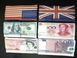 Wholesale Handbag Usa Flag - New Fashion 100 Dollar  500 EURO 50 pounds RMB USA Flag UK Flag Bill Money Wallet Man women Wallets Card Holder Creative Purse PU handbag