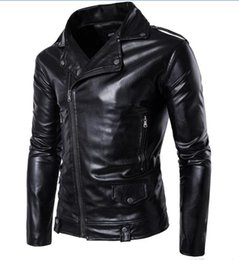 Wholesale denim jacket men leather sleeve - Winter Bomber Jackets For Men Outdoor PU Brown Black Winter Long Motorcycle Shell leather Fold Sleeve Denim Mens Jackets Outerwear T170721