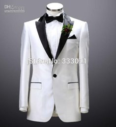 Wholesale Measure Wedding Dress - Wholesale-Custom by measure White Groom Tuxedos 2015 Men's Suits Groomsman Formal Bridegroom Wedding Party Dress Jacket+Pants+Tie