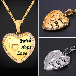 Wholesale Necklaces Engraved - U7 Jewelry Engraved Heart Pendant Necklace With Bible Verse Faith&Hope&Love 18K Gold Platinum Plated Christian Jewelry Wedding Gift P2653