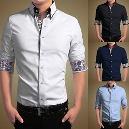 Wholesale Xxl Mens Luxury Casual Shirts - New Mens Luxury Casual Stylish Slim Fit Print Dress Shirts Size M L XL XXL XXXL 4XL Free Shipping Men's Clothing