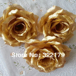 Wholesale Gold Kissing Balls Wholesale - 100X Gold Roses Artificial Silk Flower Heads 10cm Wholesale Lots for Kissing Ball Flowers Pomander Wedding Arrangement