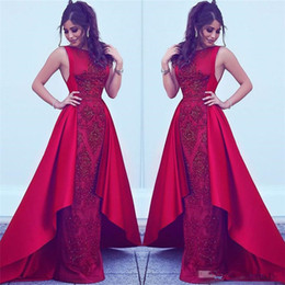 Wholesale aline dresses - 2017 Red Dubai Arabic Style Evening Dresses Jewel Beaded Sleeveless Formal Prom Gown Custom Made Appliques Special Occasion Wear Cheap Aline