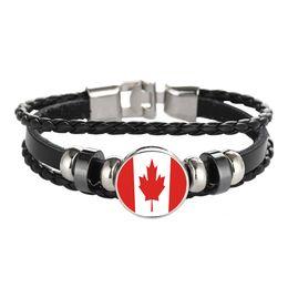 grossista braceletes canadá Desconto Pulseira de couro Snap Punk Canadá Haiti Montenegro Honduras Bandeira De Vidro Cabochão Charme Pulseiras Mulheres e Homens de Jóias Por Atacado