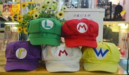 Wholesale Super Mario Cosplay Hat - adult kids Luigi Super Mario Bros Baseball Costume Cosplay Hat Cap adjustable elastic halloween caps free shipping in stock